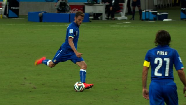 Italy's Claudio Marchisio scores against England