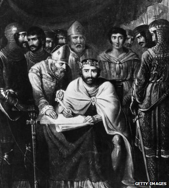 Artists impression of King John signing the Magna Carta