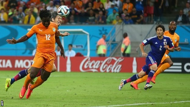 Wilfried Bony glanced in a header to draw Ivory Coast level