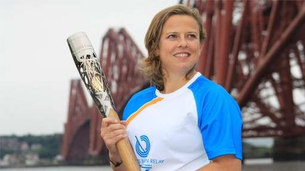 Comedian Rhona Cameron carried the baton at the Forth Bridge