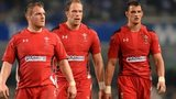 Alun Wyn Jones (centre) with Gethin Jenkins and Aaron Shingler