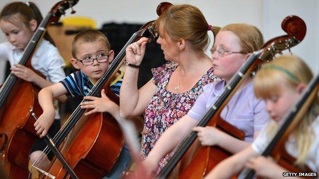 Children playing music in Stirling, Scotland