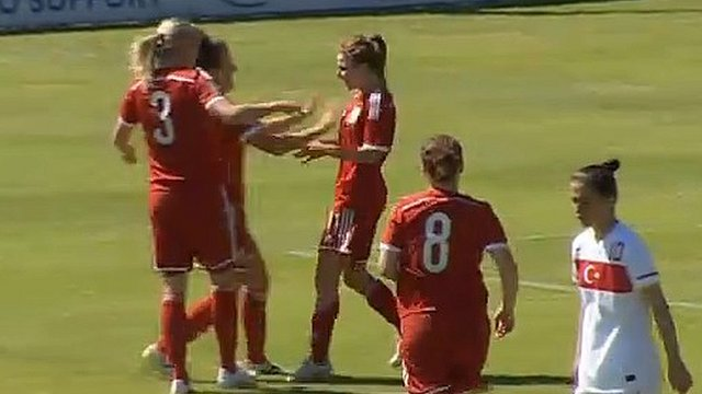 Sarah Wiltshire celebrates with her Wales team-mates