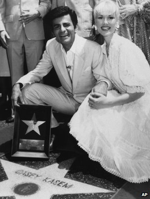 "Casey Kasem and his wife Jean smile as he receives his own ""Star"" on the Hollywood Walk of Fame"