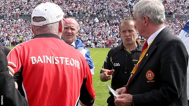 Mickey Harte was adamant referee Eddie Kinsella did not add on sufficient time at Clones