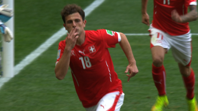 World Cup 2014: Switzerland's Admir Mehmedi celebrates