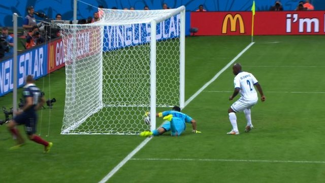 Goal-line technology ruled that France striker Karim Benzema's effort against Honduras had crossed the line