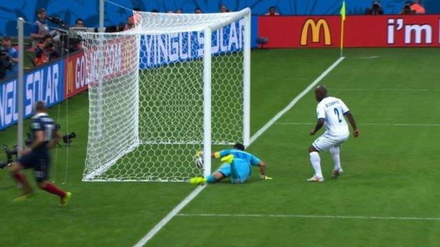 Goal-line technology ruled that France striker Karim Benzema's effort against Honduras had crossed the line