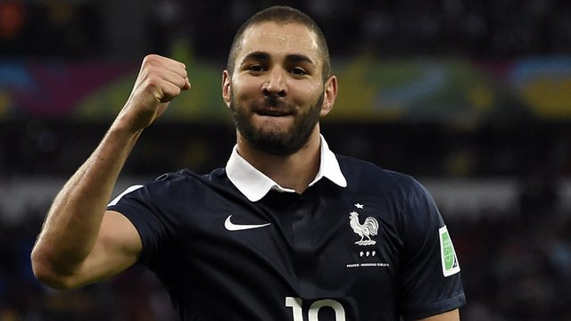 World Cup 2014: France's Karim Benzema celebrates