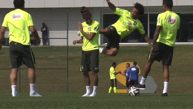 Brazil's Neymar in training