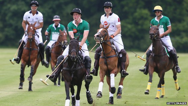 Prince Harry and the Duke of Cambridge playing polo