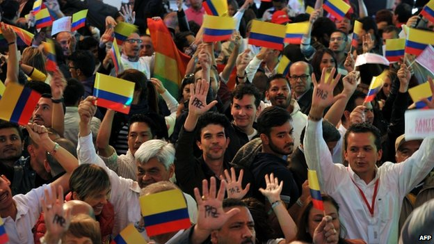 Santos supporters in Bogota