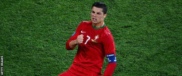 Ronaldo celebrates scoring for Portugal.
