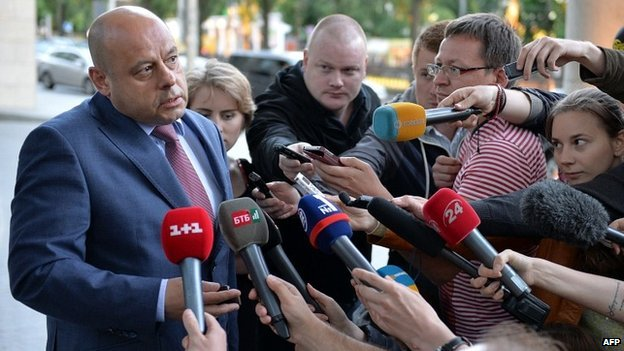 Ukraine's energy minister Yuri Prodan speaks to the media after talks with Gazprom officials in Kiev - 14 June 2014