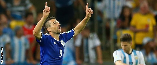 Vedad Ibisevic celebrates scoring Bosnia-Hercegovina's first goal in World Cup history