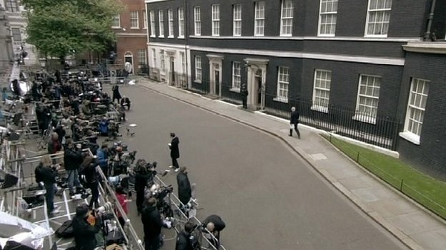 TV cameras outside Downing Street