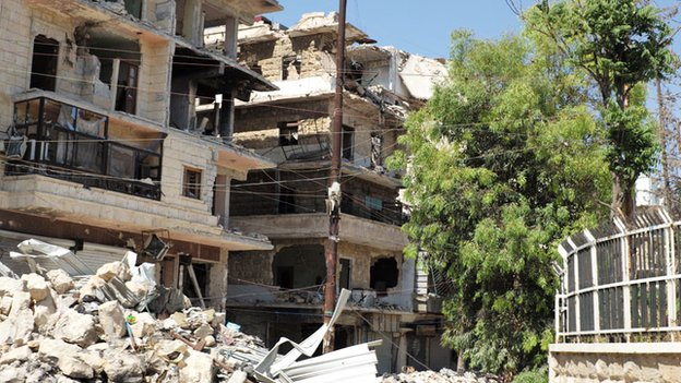 Damaged buildings in West Aleppo