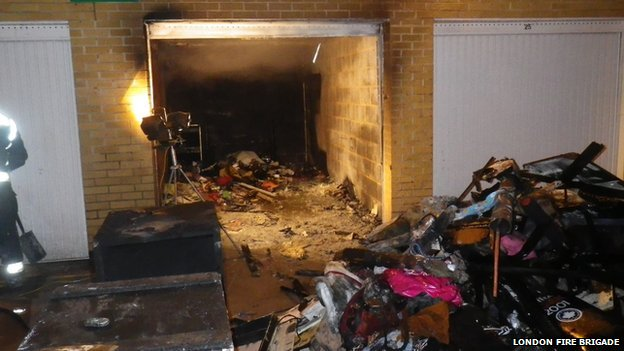 Fire in a garage in Wandsworth