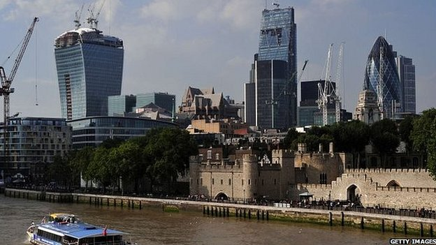 The Tower of London with London's developing City skyline behind