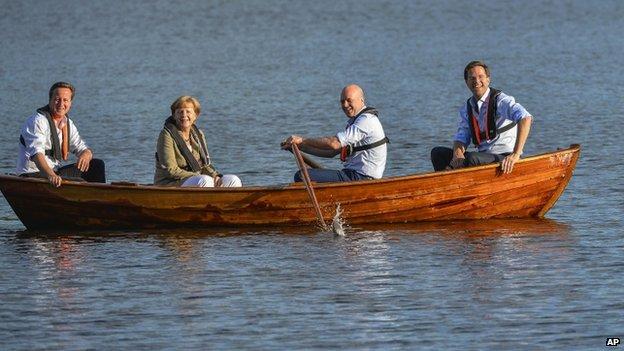 From Left: David Cameron, Angela Merkel, Sweden's Fredrik Reinfeldt and Mark Rutte of the Netherlands ((9 June)