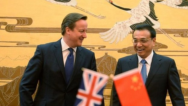 David Cameron (left) and Li Keqiang during the former's trip to China last December