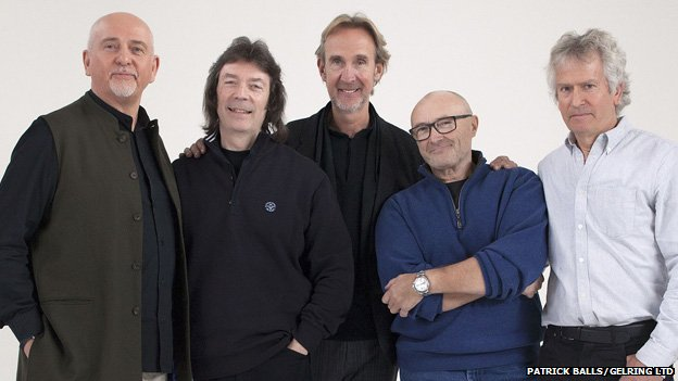 Genesis members Peter Gabriel, Steve Hackett, Mike Rutherford, Phil Collins and Tony Banks