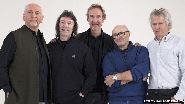Genesis members Peter Gabriel, Steve Hackett, Mike Rutherford, Phil Collins and Tony Banks
