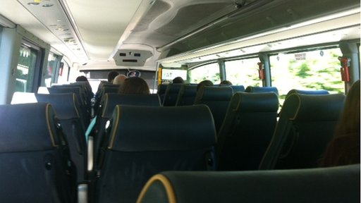 The bus emptied out at Ballymena, but then filled up again in Ballymoney
