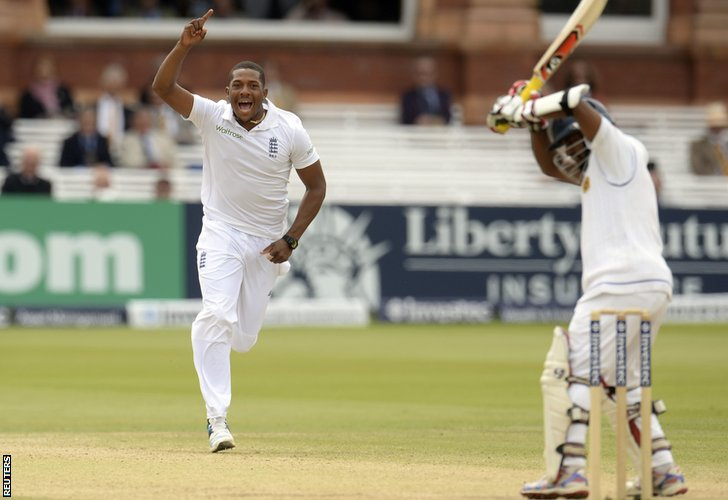 England's Chris Jordan removes Kaushal Silva