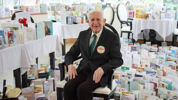 Bernard Jordan with his birthday cards