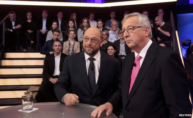 Mr Juncker (R) and European Socialist candidate Martin Schulz took part in a televised debate on 8 May