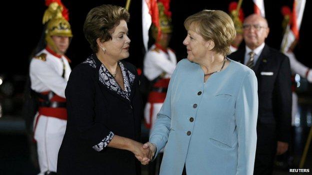 Angela Merkel with Brazil's Dilma Rousseff (16 June)