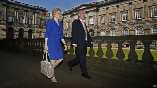 Nicola Sturgeon walking alongside Stephen Tierney