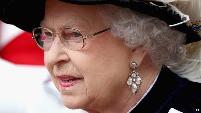 The Queen during the Order of the Garter service 2014