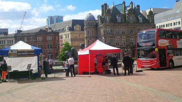 Road works exhibition in Victoria Square