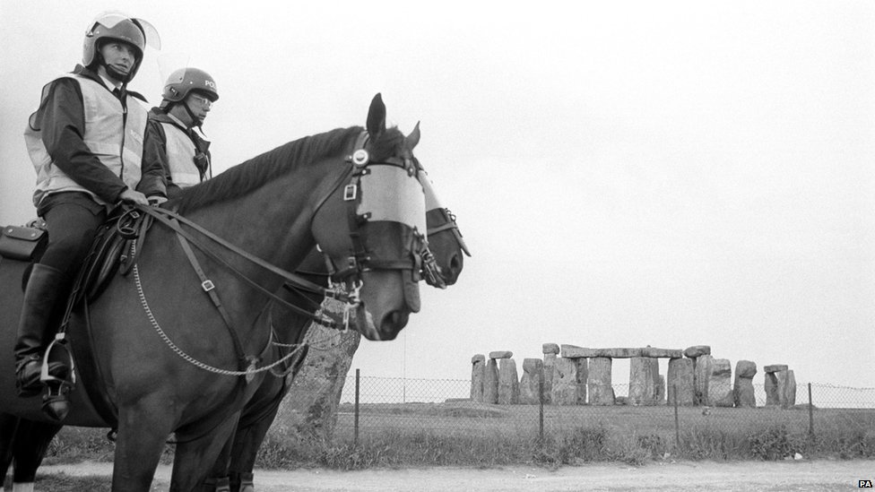 Mounted police on duty at deserted Stonehenge, where a four-mile exclusion zone was set up in June 1989.