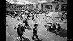 View of Plaza Bolivar in Bogota with displaced people's camp