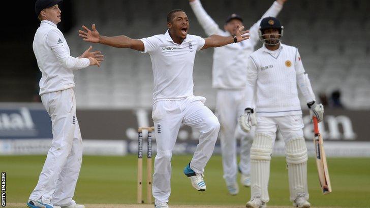 England's Chris Jordan traps Prasanna Jayawardene lbw