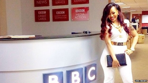 Vera Sidika at the BBC studio in Nairobi, Kenya