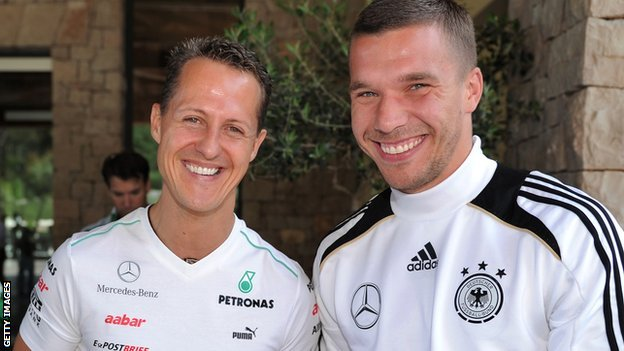 Michael Schumacher and Lukas Podolski