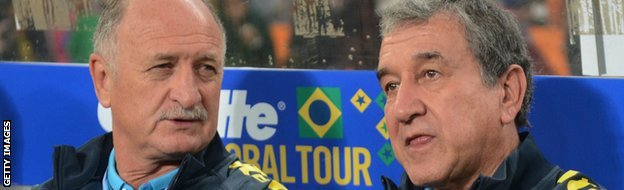 Brazil coach Luiz Felipe Scolari and his assistant Carlos Parreira