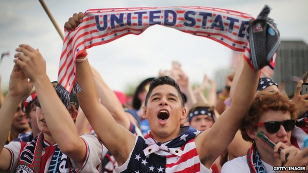 Carlos Pineda joins other fans in Grant Park to watch the US play Ghana in a World Cup soccer match in Chicago, Illinois 16 June 2014