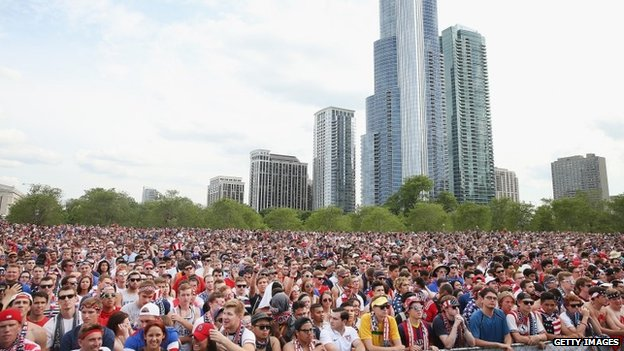 Fans gather in Grant Park to watch the US play Ghana in a World Cup soccer match in Chicago, Illinois 16 June 2014