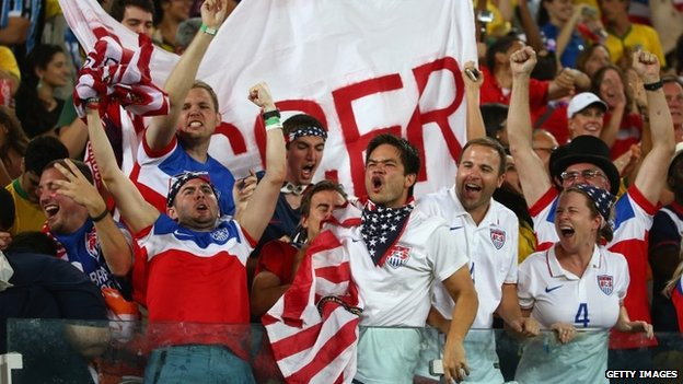 Fans of the United States cheer during the 2014 FIFA World Cup Brazil Group G match between Ghana and the United States at Estadio das Dunas in Natal, Brazil 16 June 2014