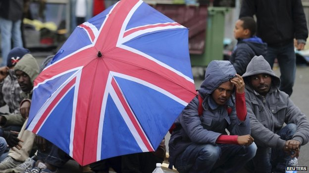 Eritrean migrants in Calais, hoping to come to Britain