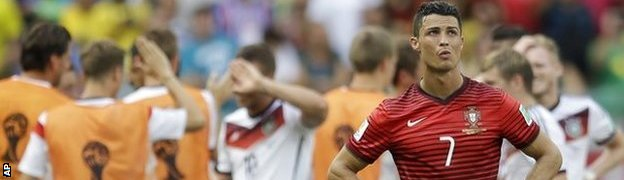 Portugal winger Cristiano Ronaldo shows his disappointment after the defeat by Germany