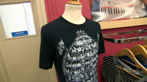 Tom Meighan's T-shirt on sale in Oxfam