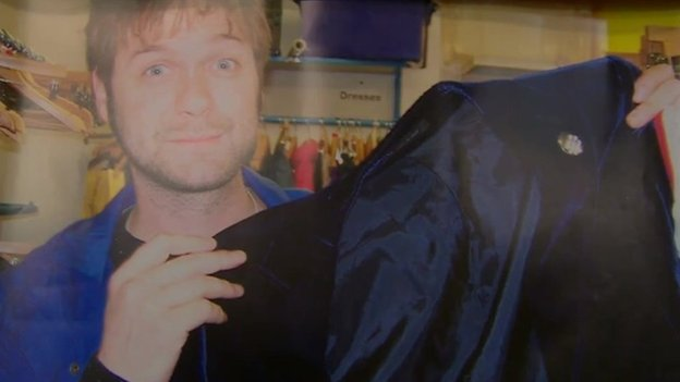 Tom Meighan in Oxfam store