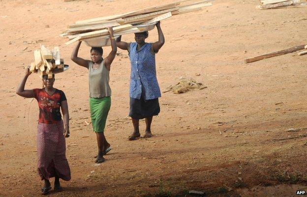 Ghanaian  women carry wood (February 2008)