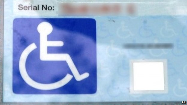 Blue disabled badge